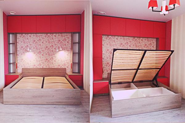 мебель для спальни кровать с польемным механизмом прикроватные тумбы антресоль ДСП МДФ оранжевый санома трюфель мебель на заказ киев недорого